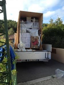 Chargement caisse garde-meubles 8 m3